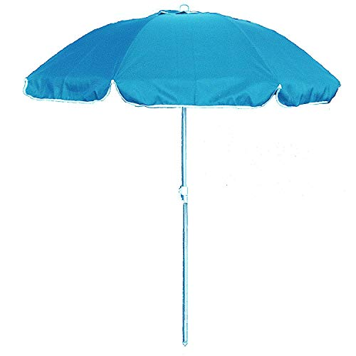 Ombrellone da spiaggia in policotone diam. 200cm,ombrellone mare portatile con custodia con tracolla,ombrellone spiaggia Ø 2M azzurro mod.Palinuro,ombrellone mare in alluminio con cappuccio antivento