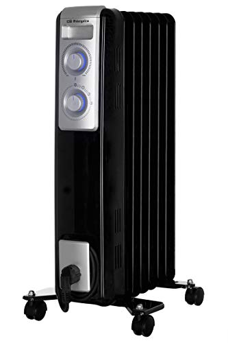 Orbegozo RN 1500 Olieradiator, 7 elementen, 1500 W, LED-licht, instelbare thermostaat, kabelopwikkeling, zwenwielen