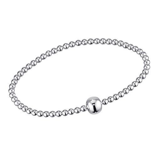 MATERIA Silber Perlen Armband Frauen Mädchen - 925 Echtsilber Stretcharmband Kugeln 17-22cm mit Schmuck-Box SA-37