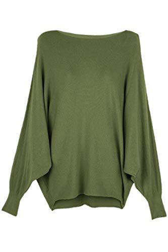 Cara Mia Strick-Pullover für Damen mit Fledermaus-Ärmeln Viskose Oliv 38 40 42