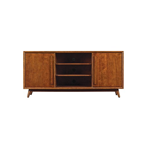 Pamari Rivara TV Stand with Electric Fireplace for TVs up to 60', Mahogany Cherry