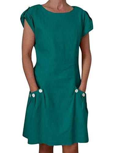 Yidarton Damen Kleider Leinen Strandkleider Elegant Casual A-Linie Kleider Ärmellos Sommerkleider,Grün,XXL