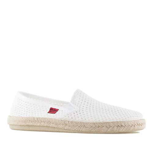 Andres Machado - Unisex Slipper für Damen und Herren – AM500 - für den Sommer – Hausschuhe – aus weißem Leinen mit Rutschfester Gummisohle – EU 44