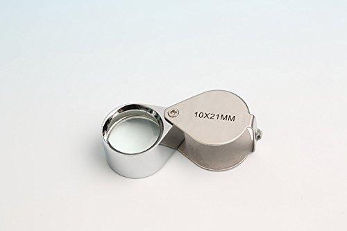 GOLDIFLORA OPTICS - MG 55367-OZ - Einschlaglupe - 10x fache Vergrösserung - 21mm Linsendurchmesser - mit Schutzbox - + 1x Putztuch + 1x Scheckkartenlupe - GRATIS