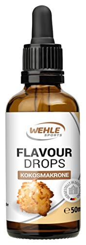Flavdrops Geschmackstropfen ohne Kalorien - Flavor Drops für Quark, Jogurt, Porridge uvm - Aromatropfen zum Süßen - Wehle Sports 50ml (Kokosmakrone)