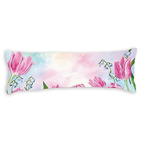 Fundas de almohada para el cuerpo de 137 x 50 cm, con cremallera, funda de almohada para el cuerpo, de algodón, suave, para embarazo, niños, adultos, bohemio, blanco, verde