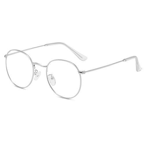 Gafas con filtro de luz azul sin resistencia a los rayos UV, estilo retro, estructura de metal, montura de gafas con estuche plata M