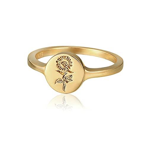 YeGieonr 925 Sterling Silber für Frauen-18 Karat Vergoldeter Mini-Sonnenblumengravierter Siegelring Minimalistischer Statement-Ring Feines Personalisiertes Schmuckgeschenk für Frauen/Mädchen