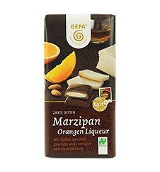 GEPA Bio Tafel-Schokolade - 1 Karton (10 x 100g) Zarte Bitter Marzipan-Orangen-Liquer