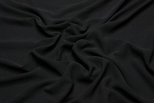 Escalano 100% Reine Seide Crepe Georgette Silk Meterware Maulbeerseide Seidenkleid (SE88 Schwarz/Breite:121cm)