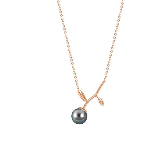 Rosec Jewels 14 quilates oro rosa redonda Black Perla de Tahití