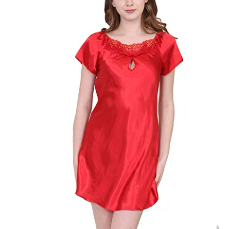 Crystallly Dames Satijn Pajama Slaap Shirt Dames Nachtjapon Korte Basis Kimono Eenvoudige Stijl Satijn Slaap Shirt Korte Mouw Nacht Jurk Ronde hals Chemise Slaapmode Thuis Mode Comfortabele pyjama