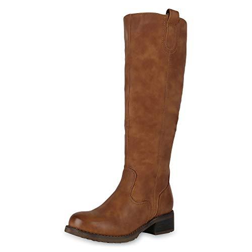 SCARPE VITA Klassische Damen Stiefel Gefütterte Leder-Optik Boots Profilsohle 170761 Hellbraun Hellbraun Total 37