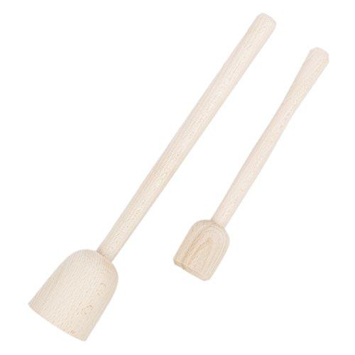 BARTU 2er Set aus Stampfer gerade Kopf Holz Zerdrücker Krautstampfer