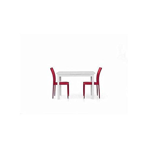 Estea Mobili - TAVOLO LEGNO 120x80 MODERNO ALLUNGABILE bianco frassinato SALOTTO CUCINA TEMP - 556