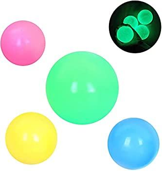 MuiSci Sticky Balls 4pcs Glowing Stress Relief Balls for Ceiling Sticky Wall Balls Glow Stress Relief Toys for Children and Adults