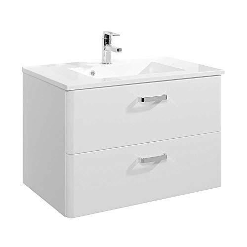 Pharao24 Bad Waschtisch in Weiß Hochglanz Einlass-Waschbecken Breite 80 cm