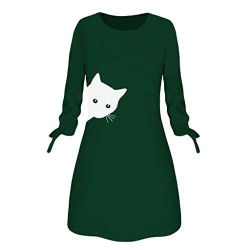 Meclelin Frauen Gedrucktes Langarm Minikleid Winterkleid Freizeit Kleid O-Ausschnitt...