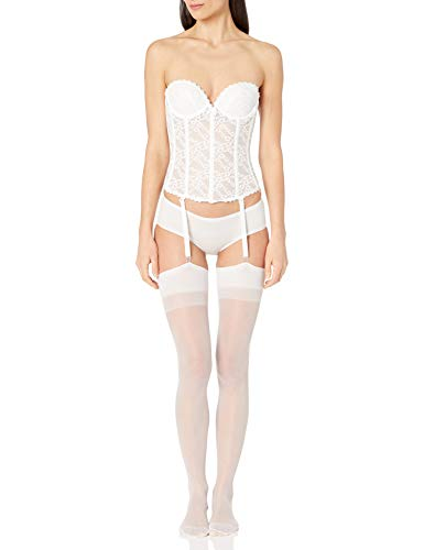Va Bien Women's Lace Low Back Bustier, White, 34C