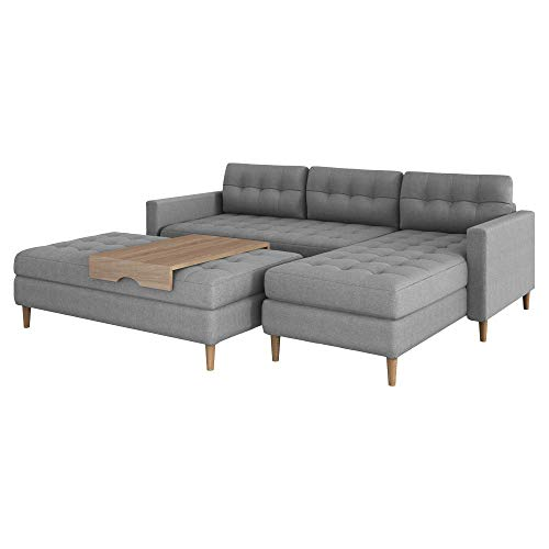 Selsey Kopenhaga Corner Sofa Bed Grey with a Pouf and Wooden Legs