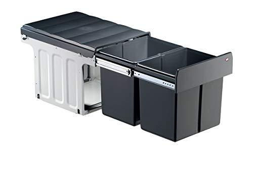 WESCO ABFALL-SAMMLER Modell: Profiline- Double Master 40 DT 32 Liter (2 x 16), Vollauszug, ab 400 mm Schrankbreite, B 338 x T 485 x H 320 mm, passt unter alle Ablaufgarnituren,