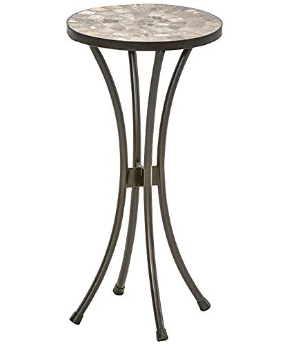 Dehner Blumenhocker Grazia, Ø 30 cm, Höhe 60 cm, Metall/Stein, mosaikoptik, grau/braun
