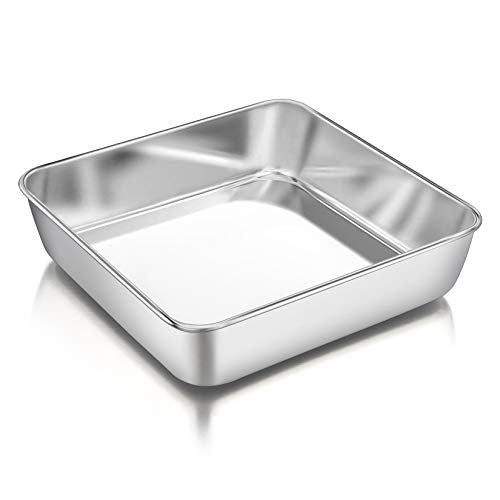 8 Inch Square Baking Cake Pan PampP CHEF Stainless Steel Lasagna Cookie Bakeware Birthday Brownie Cake Pan Leakproof amp Heavy Duty Nontoxic amp Healthy Easy Release amp Clean