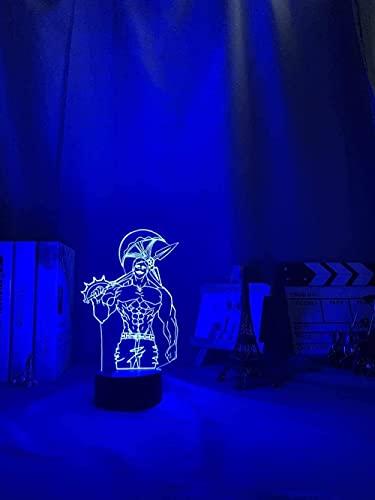 MENG Los Siete Pecados Mortales Escanor Luz para la Habitación de la Cama Decoración Nightlight Kids Lámpara de Mesa Escanor Regalo 3D Noche Luz