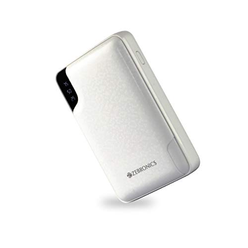 Zebronics Zeb-ME10000PD, Made in India 10000 mAh Power Bank, with Type C Input, Dual USB Output (White)