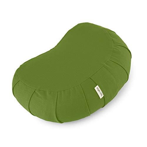 basaho Crescent Zafu Cuscino da Meditazione | Cotone Organico (Certificato GOTS) | Gusci di Grano Saraceno | Rivestimento Lavabile Rimovibile (Foglia)