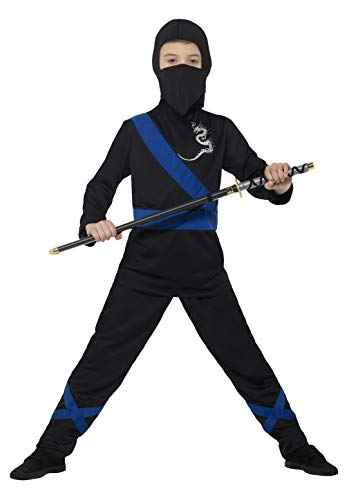 Smiffys-21073L Disfraz de Asesino Ninja, con Capucha, máscara, Parte de Arriba y, Color Negro y Azul, L-Edad 10-12 años (Smiffy'S 21073L)