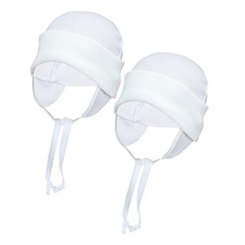 TupTam Baby Erstlingsmütze mit Ohrenklappen 2er Pack, Farbe: Weiß, 56