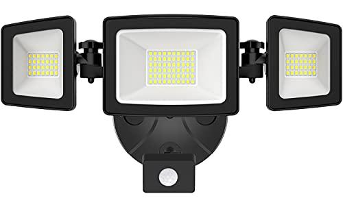 Onforu 50W Foco de Seguridad con Sensor de Movimiento, 3 Cabezas 5000LM Foco Exterior LED, IP65 Impermeable Proyector Foco LED con Detector, 5000K Blanco Frío para Jardín, Patio, Garaje, Entrada