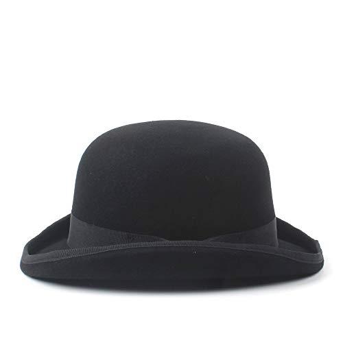 Hat Tages Zubehör Wide Brim Billycock Hüte 100% Wolle Herren Bailey Ofhollywood Fedora Hut for Gentleman Crushable Hantom Dad Bowler Hat (Farbe : Schwarz, Größe : 57cm)