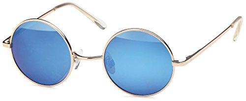 Balinco Sonnenbrille mit runden Gläsern und schmalem Metall Gestell, Bügel mit Federscharnier (Gold-Blue)