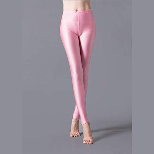 AOZLOVEC Leggings brillantes Leggings largos para mujer Pantalones elásticos Leggings básicos Casual Spandex Soft Multicolor Legging OneSize K036Pink