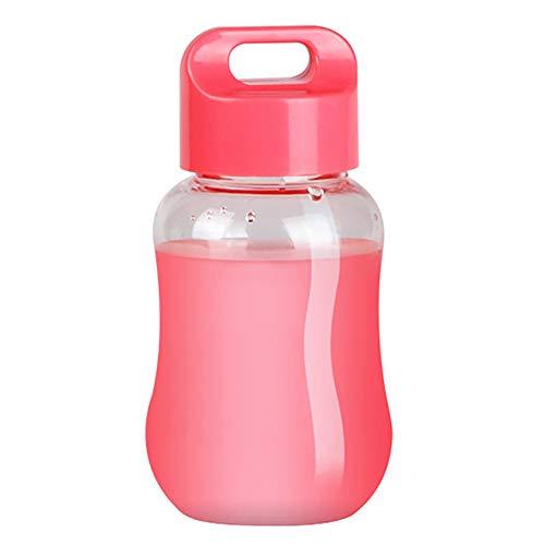 Enticerowts - Borraccia portatile mini 100-200 ml, in plastica, atossica, sicura per bambini, per la scuola, con corda, colore: Rosa trasparente