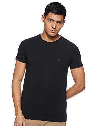 Tommy Hilfiger Core Stretch Slim CNECK tee Camiseta, Negro (Flag Black 083), Medium para Hombre