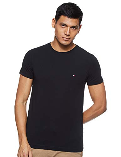 Tommy Hilfiger Herren CORE Stretch Slim CNECK Tee T-Shirt, Schwarz (Flag Black 083), Large