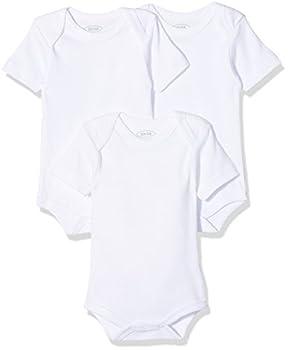 Schnizler Unisex Baby Body Kurzarm, 3er Pack Uni, Oeko-Tex Standard 100, Weiß (Weiß 1), 50 (Herstellergröße: 50/56)