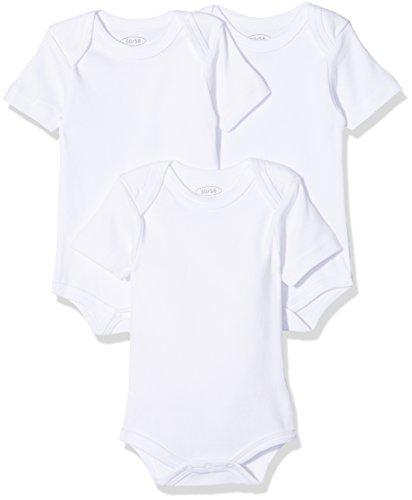 Schnizler Unisex Baby kurzarm, 3er Pack Uni, Oeko-Tex Standard 100 Body, Weiß (weiß 1), 62 (Herstellergröße: 62/68)