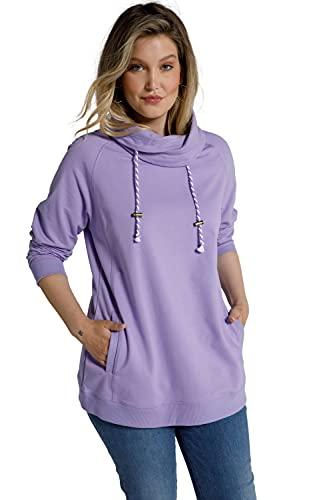 Ulla Popken Damen große Größen Übergrößen Plus Size Basic Sweatshirt, Stehkragen, Raglan Langarm blaues Flieder 50+ 799772810-50+