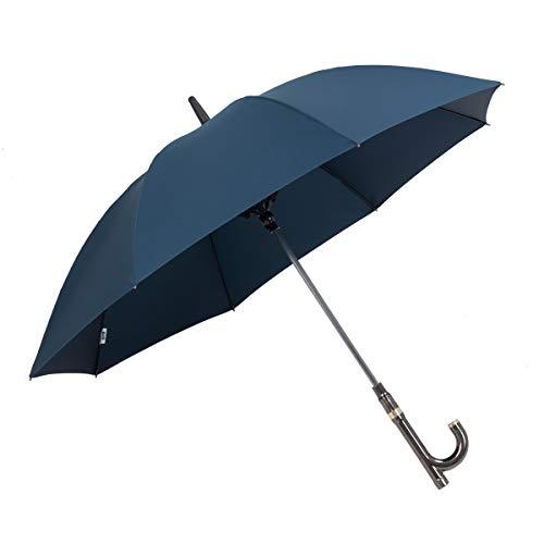 Parachase Wiederaufladbarer Sonnenschirm, elektrischer Ventilator, multifunktionale Krücken, langer Regenschirm für Herren, 8 K, winddichter Golfschirm, Geschenk für Herren