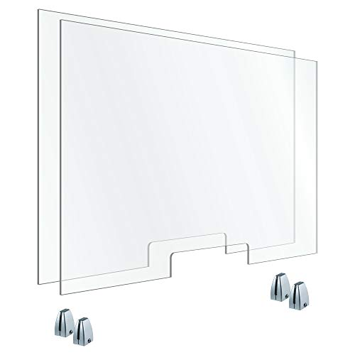 OfficeSource Set of (2) 48'x30' Clear Acrylic Office Dividers w/Transaction Cutout, Desk or Counter Screens, 4 Silver Top Mount Brackets, 1/4' Thick, Functions as a Partition or Sneeze Guard