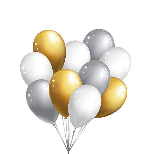 30 Premium Luftballons in Gold/Silber/Weiß - Made in EU - 100% Naturlatex somit 100% giftfrei und 100% biologisch abbaubar - Geburtstag Hochzeit Silvester Karneval - für Helium geeignet - twist4®