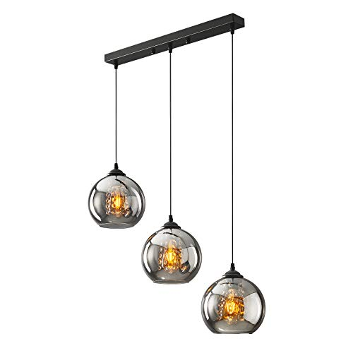 H.W.S LáMpara Colgante De Cristal DiseñO Bola Moderna Creativa DecoracióN Interior Ajustable En Altura Luminaria Sala Estar (Smoky gray, 3 flamming long)