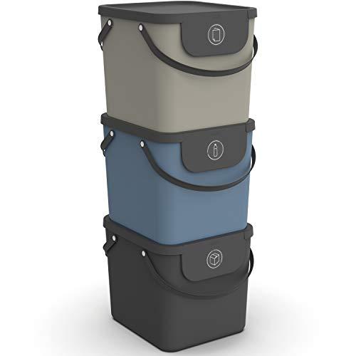 Rotho Albula 3er-Set Mülltrennungssystem 40l für die Küche, Kunststoff (PP) BPA-frei, anthrazit/blau/cappuccino, 3 x 40l (40.0 x 35.8 x 34.0 cm)