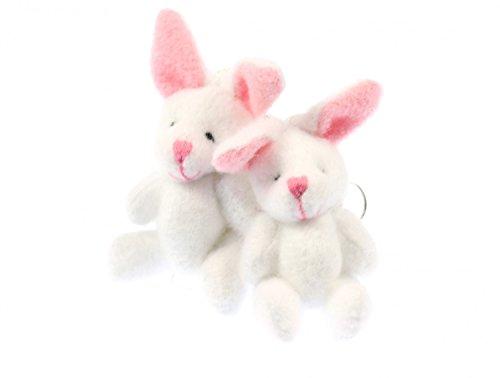 Miniblings Hasen Kaninchen Plüsch Ohrringe - Handmade Modeschmuck I Mini Teddy weiß Kinder - Ohrhänger Ohrschmuck versilbert