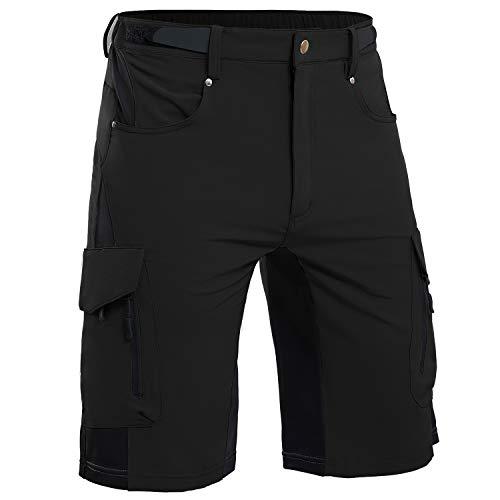 Cycorld Mountain-Bike-Shorts-Mens-Padded MTB Biking Baggy Cycling Short Removable Padding Liner(Black,Large)