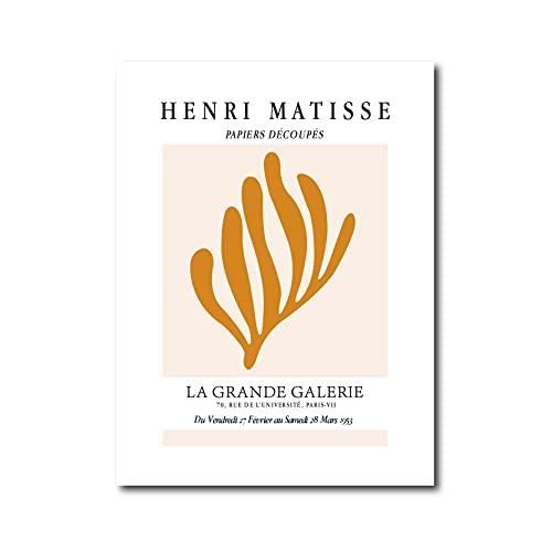 Francia Henri Matisse Líneas abstractas Plantas Hojas Flores Recortes Papeles Lienzo Pintura Arte de la pared Póster Dormitorio Sala de estar Estudio Oficina Decoración para el hogar Mural